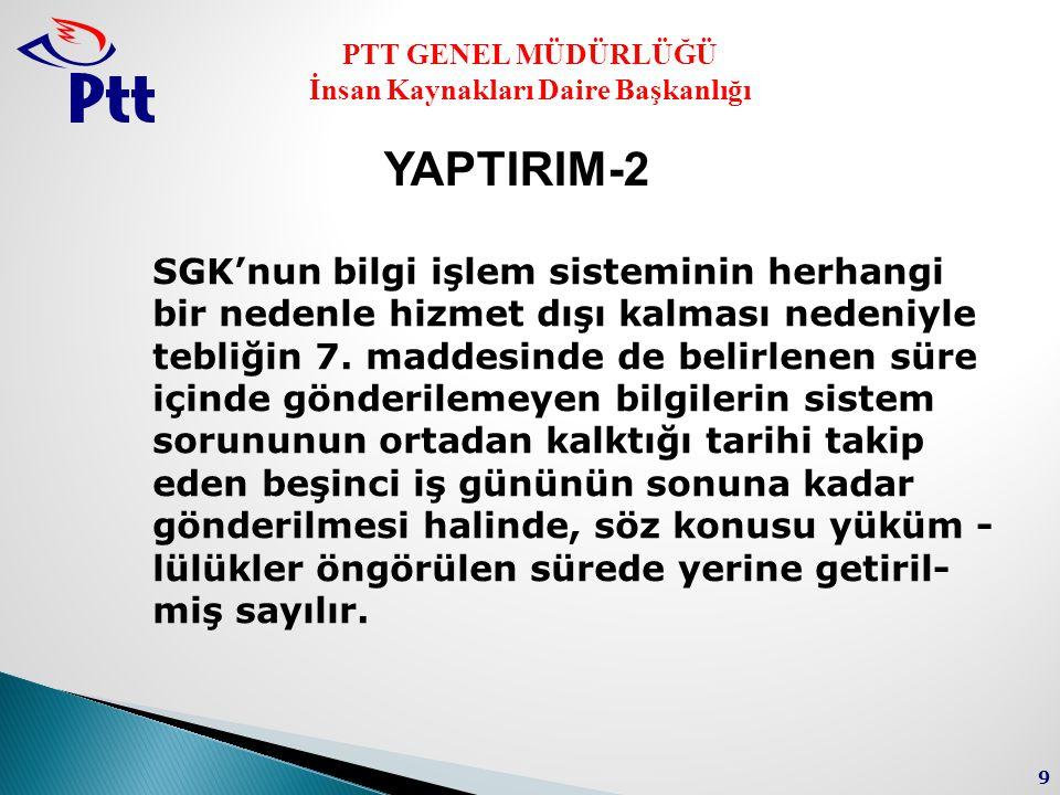 PTT GENEL MÜDÜRLÜĞÜ İnsan Kaynakları Daire Başkanlığı 9 SGK'nun bilgi işlem sisteminin herhangi bir nedenle hizmet dışı kalması nedeniyle tebliğin 7.