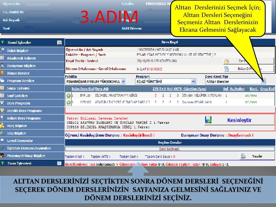 Şekil–2: Ders Kayıt linki tıklandıktan sonra öğrencinin bağlı olduğu müfredat dersleri ilgili dönem (2014-2015 BAHAR YY) ekranda belirecektir.