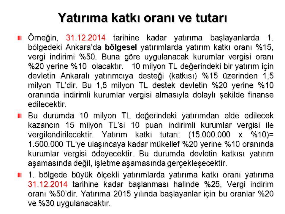 Yatırıma katkı oranı ve tutarı Örneğin, 31.12.2014 tarihine kadar yatırıma başlayanlarda 1. bölgedeki Ankara'da bölgesel yatırımlarda yatırım katkı or