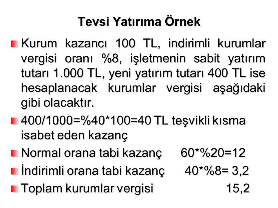 Tevsi Yatırıma Örnek Kurum kazancı 100 TL, indirimli kurumlar vergisi oranı %8, işletmenin sabit yatırım tutarı 1.000 TL, yeni yatırım tutarı 400 TL i