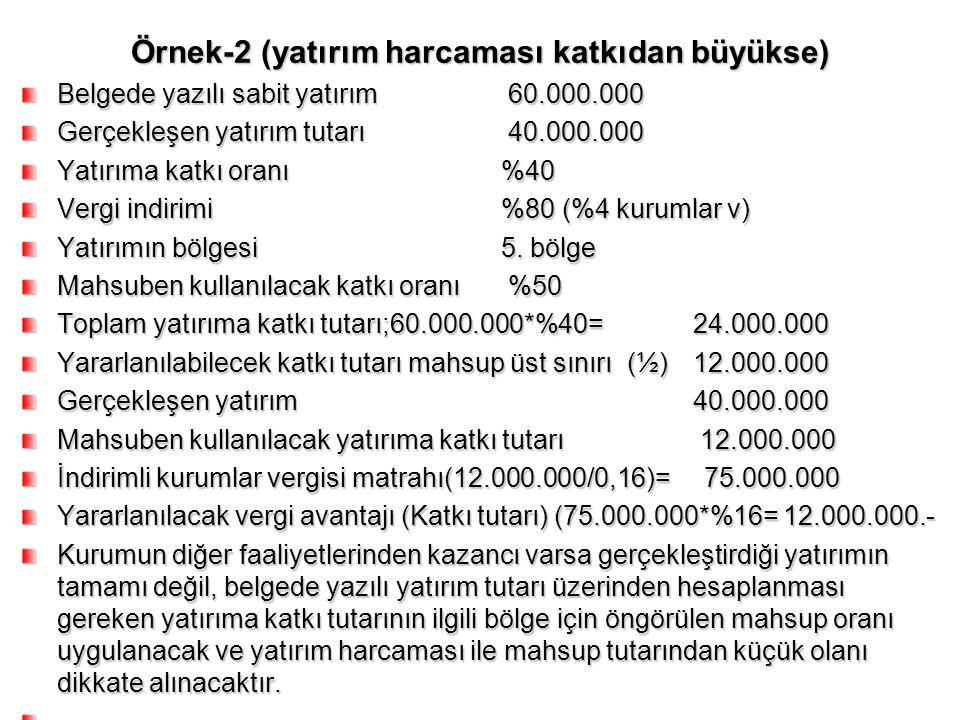 Örnek-2 (yatırım harcaması katkıdan büyükse) Belgede yazılı sabit yatırım 60.000.000 Gerçekleşen yatırım tutarı 40.000.000 Yatırıma katkı oranı%40 Ver