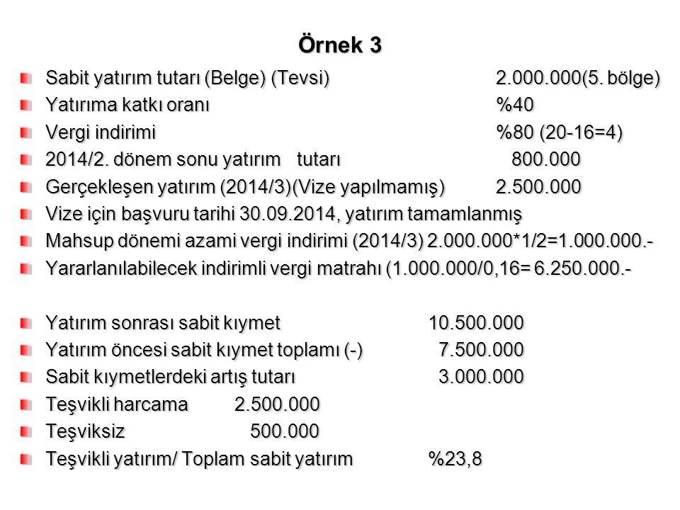 Örnek 3 Sabit yatırım tutarı (Belge) (Tevsi)2.000.000(5. bölge) Yatırıma katkı oranı%40 Vergi indirimi%80 (20-16=4) 2014/2. dönem sonu yatırım tutarı