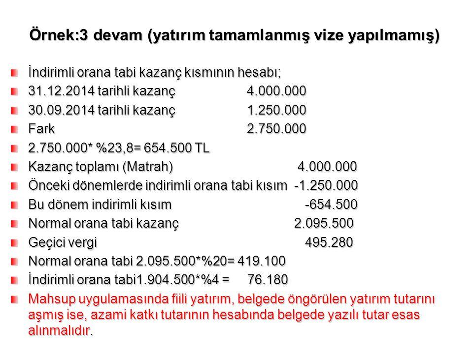 Örnek:3 devam (yatırım tamamlanmış vize yapılmamış) İndirimli orana tabi kazanç kısmının hesabı; 31.12.2014 tarihli kazanç4.000.000 30.09.2014 tarihli
