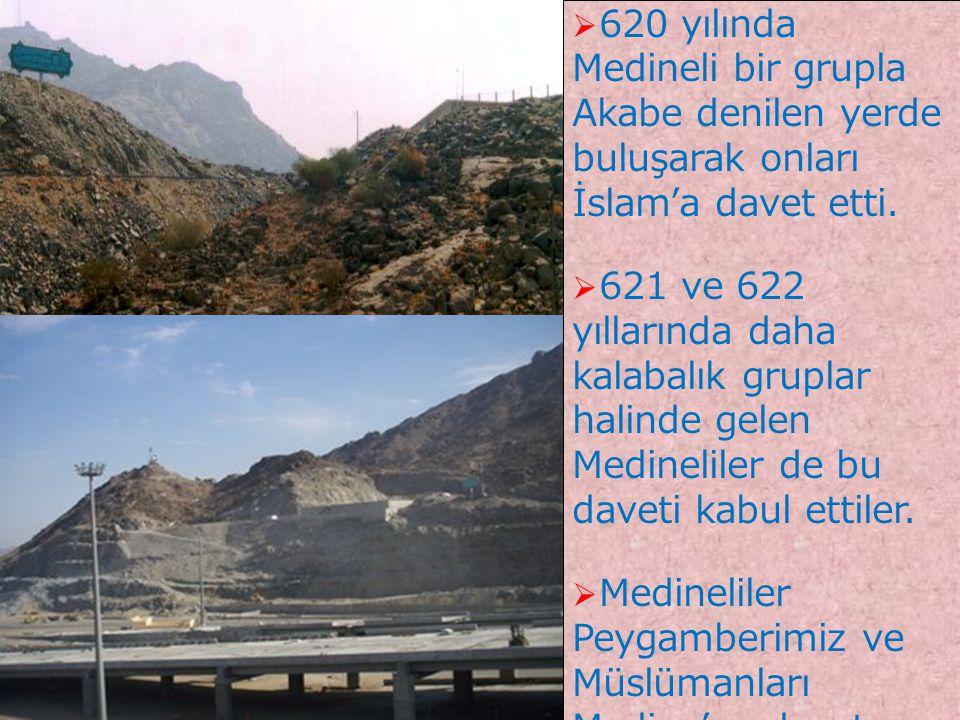 4  620 yılında Medineli bir grupla Akabe denilen yerde buluşarak onları İslam'a davet etti.  621 ve 622 yıllarında daha kalabalık gruplar halinde ge