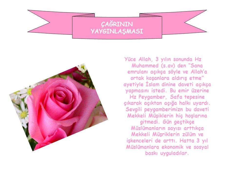 """ÇAĞRININ YAYGINLAŞMASI Yüce Allah, 3 yılın sonunda Hz Muhammed (s.av) den """"Sana emrulanı açıkça söyle ve Allah'a ortak koşanlara aldırış etme"""" ayetiyl"""