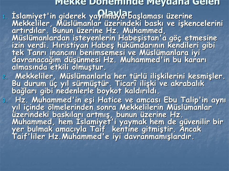 Mekke Döneminde Meydana Gelen Olaylar 1. İslamiyet'in giderek yayılmaya başlaması üzerine Mekkeliler, Müslümanlar üzerindeki baskı ve işkencelerini ar