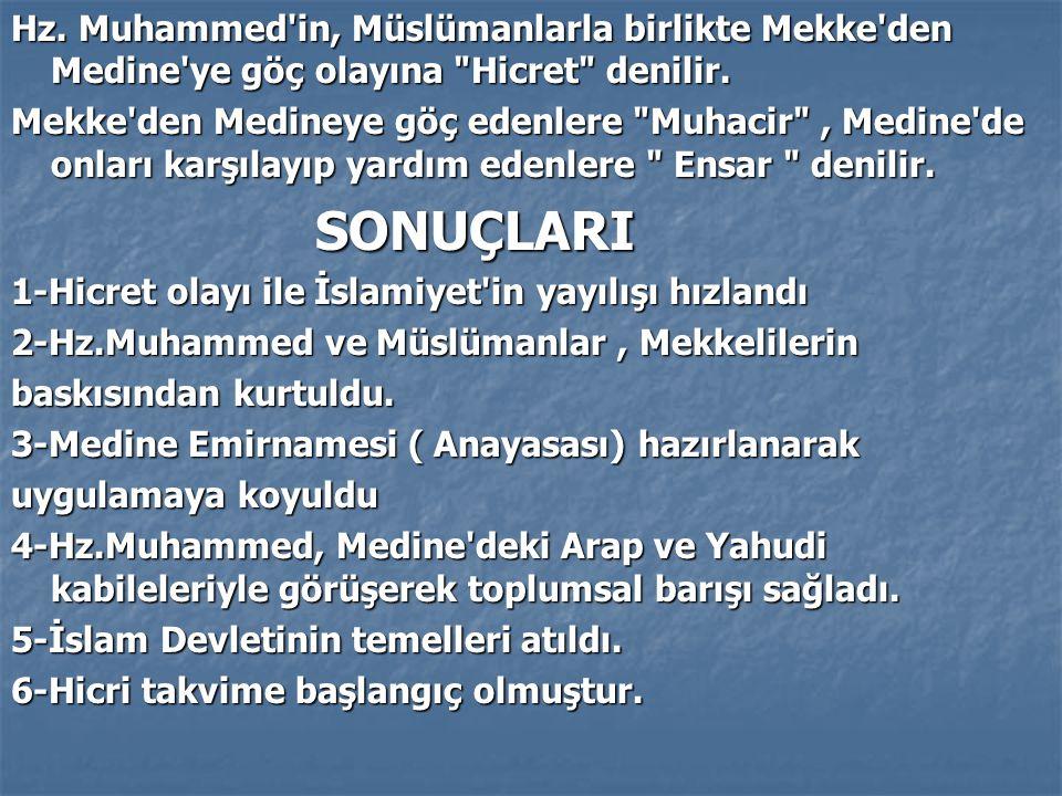 Hz. Muhammed'in, Müslümanlarla birlikte Mekke'den Medine'ye göç olayına