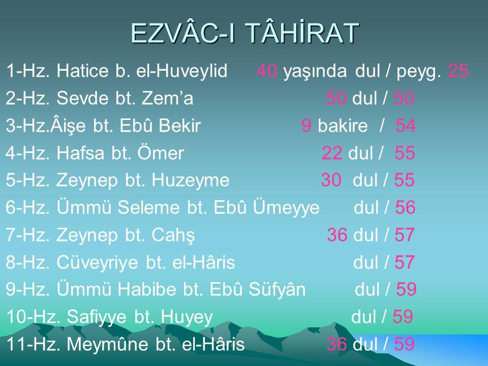 EZVÂC-I TÂHİRAT 1-Hz.Hatice b. el-Huveylid 40 yaşında dul / peyg.