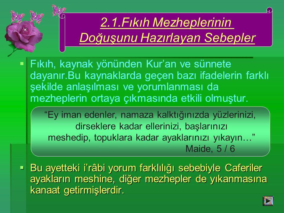   Fıkıh, kaynak yönünden Kur'an ve sünnete dayanır.Bu kaynaklarda geçen bazı ifadelerin farklı şekilde anlaşılması ve yorumlanması da mezheplerin ortaya çıkmasında etkili olmuştur.
