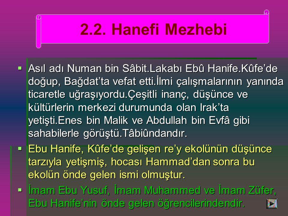  Asıl adı Numan bin Sâbit.Lakabı Ebû Hanife.Kûfe'de doğup, Bağdat'ta vefat etti.İlmi çalışmalarının yanında ticaretle uğraşıyordu.Çeşitli inanç, düşünce ve kültürlerin merkezi durumunda olan Irak'ta yetişti.Enes bin Malik ve Abdullah bin Evfâ gibi sahabilerle görüştü.Tâbiûndandır.