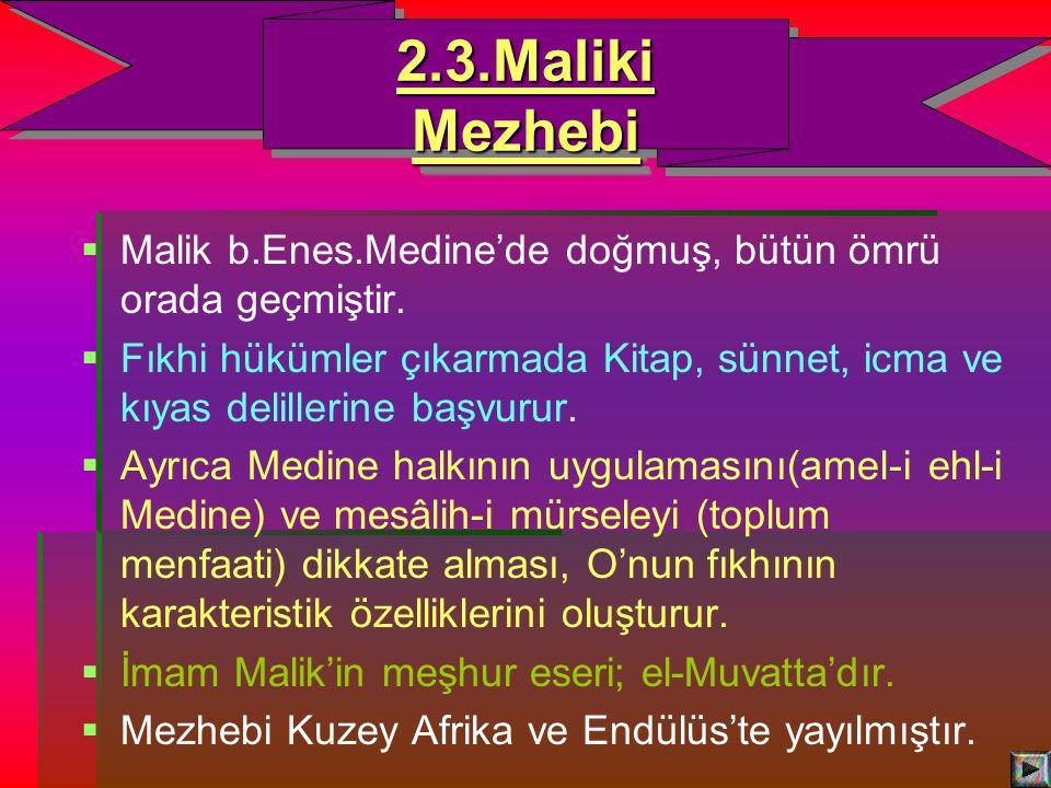   Malik b.Enes.Medine'de doğmuş, bütün ömrü orada geçmiştir.