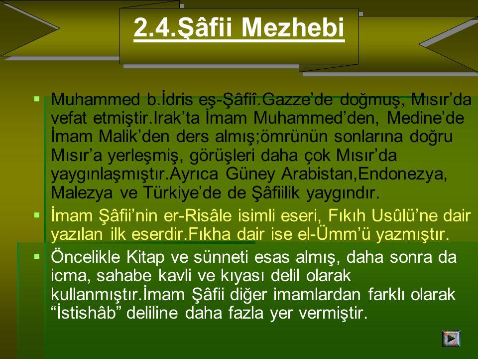   Muhammed b.İdris eş-Şâfiî.Gazze'de doğmuş, Mısır'da vefat etmiştir.Irak'ta İmam Muhammed'den, Medine'de İmam Malik'den ders almış;ömrünün sonlarına doğru Mısır'a yerleşmiş, görüşleri daha çok Mısır'da yaygınlaşmıştır.Ayrıca Güney Arabistan,Endonezya, Malezya ve Türkiye'de de Şâfiilik yaygındır.