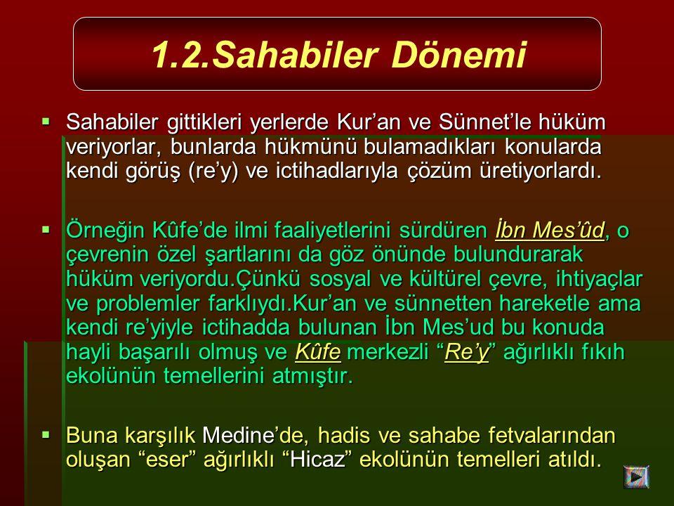  Sahabiler gittikleri yerlerde Kur'an ve Sünnet'le hüküm veriyorlar, bunlarda hükmünü bulamadıkları konularda kendi görüş (re'y) ve ictihadlarıyla çözüm üretiyorlardı.