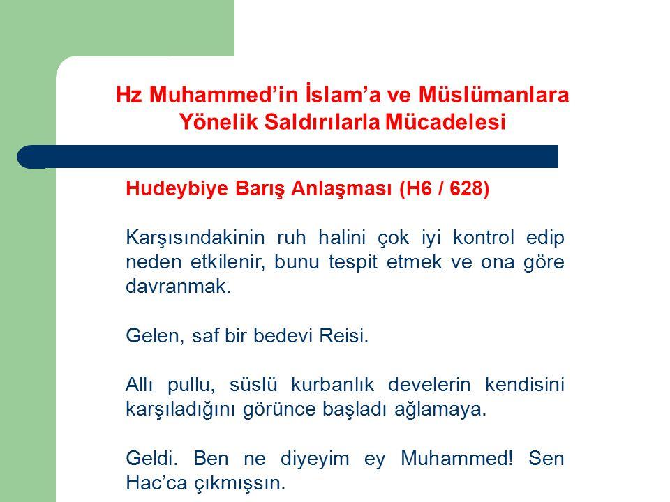Hz Muhammed'in İslam'a ve Müslümanlara Yönelik Saldırılarla Mücadelesi Hudeybiye Barış Anlaşması (H6 / 628) Karşısındakinin ruh halini çok iyi kontrol