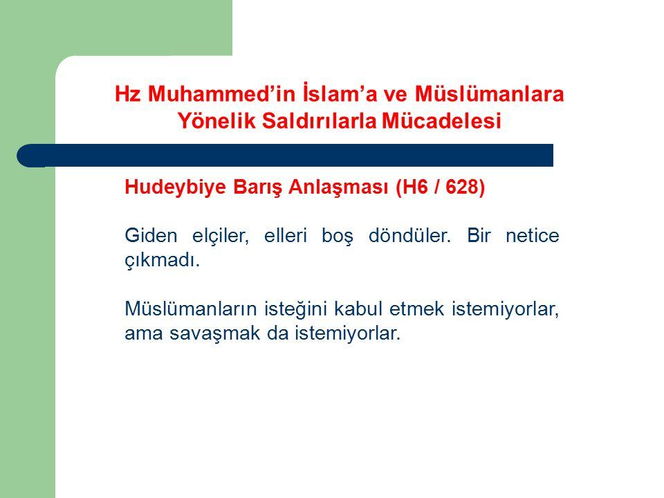 Hz Muhammed'in İslam'a ve Müslümanlara Yönelik Saldırılarla Mücadelesi Hudeybiye Barış Anlaşması (H6 / 628) Giden elçiler, elleri boş döndüler. Bir ne