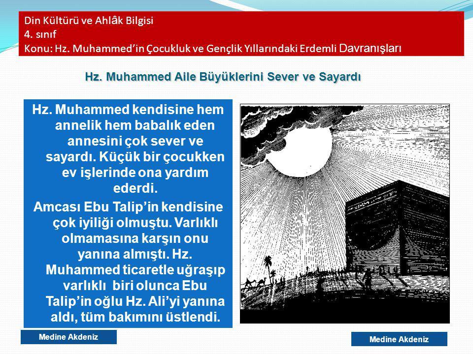 Din Kültürü ve Ahl â k Bilgisi 4. sınıf Konu: Hz. Muhammed'in Çocukluk ve Gençlik Yıllarındaki Erdemli Davranışları Hz. Muhammed kendisine hem annelik