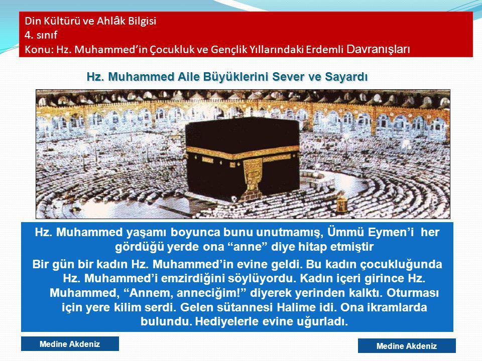 Din Kültürü ve Ahl â k Bilgisi 4. sınıf Konu: Hz. Muhammed'in Çocukluk ve Gençlik Yıllarındaki Erdemli Davranışları Hz. Muhammed yaşamı boyunca bunu u