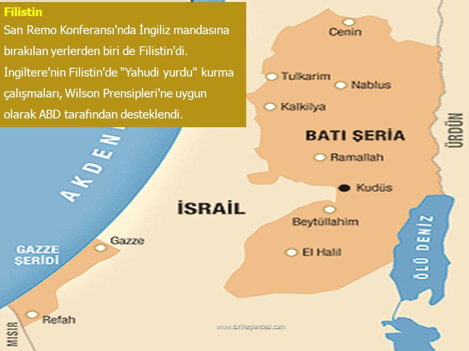 Filistin San Remo Konferansı'nda İngiliz mandasına bırakılan yerlerden biri de Filistin'di. İngiltere'nin Filistin'de