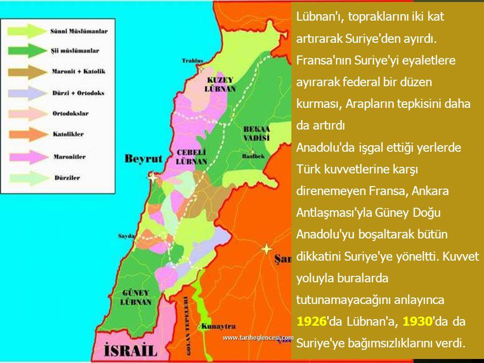 Lübnan'ı, topraklarını iki kat artırarak Suriye'den ayırdı. Fransa'nın Suriye'yi eyaletlere ayırarak federal bir düzen kurması, Arapların tepkisini da