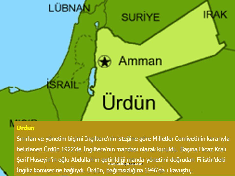 Ürdün Sınırları ve yönetim biçimi İngiltere'nin isteğine göre Milletler Cemiyetinin kararıyla belirlenen Ürdün 1922'de İngiltere'nin mandası olarak ku