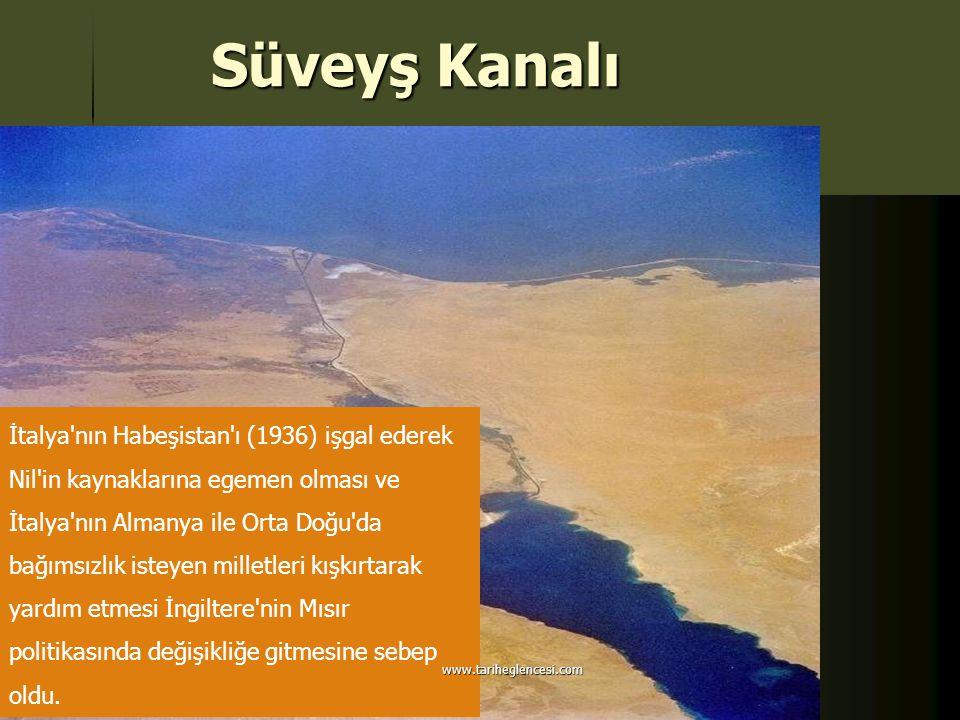 Süveyş Kanalı İtalya'nın Habeşistan'ı (1936) işgal ederek Nil'in kaynaklarına egemen olması ve İtalya'nın Almanya ile Orta Doğu'da bağımsızlık isteyen
