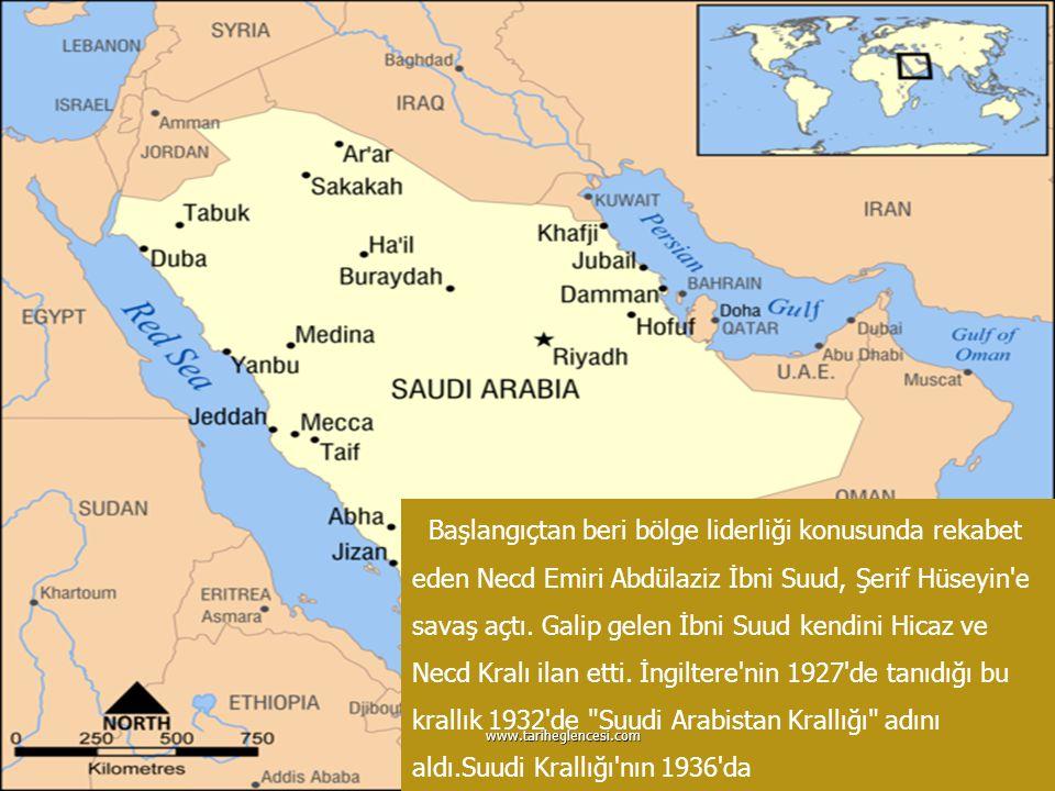 RİYAD Suudi Krallığı nın 1936 da Amerikan şirketi Aramco ya petrol ayrıcalığı vermesiyle ABD bölgeye girmiş oldu.