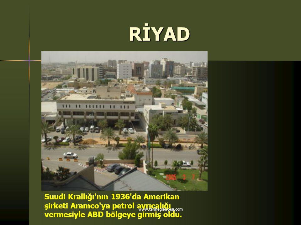 RİYAD Suudi Krallığı'nın 1936'da Amerikan şirketi Aramco'ya petrol ayrıcalığı vermesiyle ABD bölgeye girmiş oldu. www.tariheglencesi.com