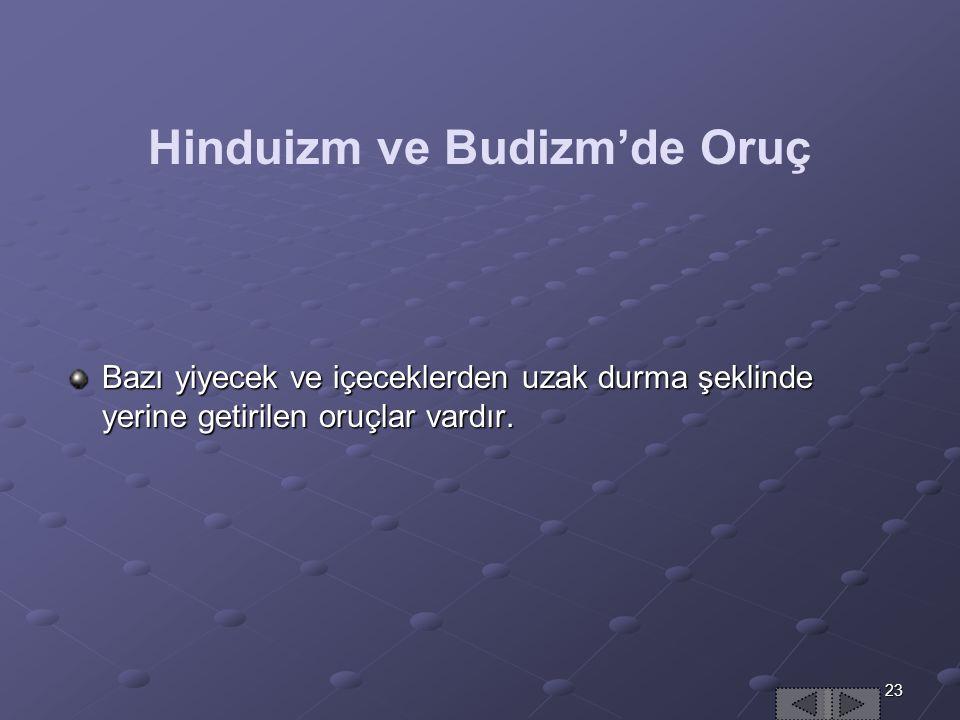 23 Hinduizm ve Budizm'de Oruç Bazı yiyecek ve içeceklerden uzak durma şeklinde yerine getirilen oruçlar vardır.