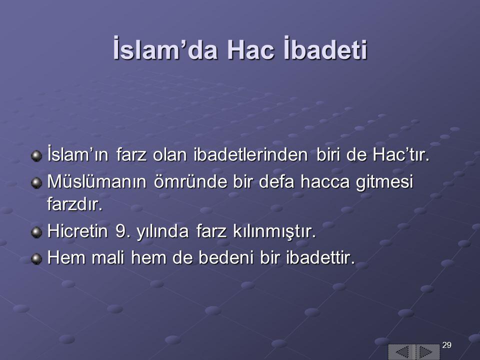 29 İslam'da Hac İbadeti İslam'ın farz olan ibadetlerinden biri de Hac'tır.