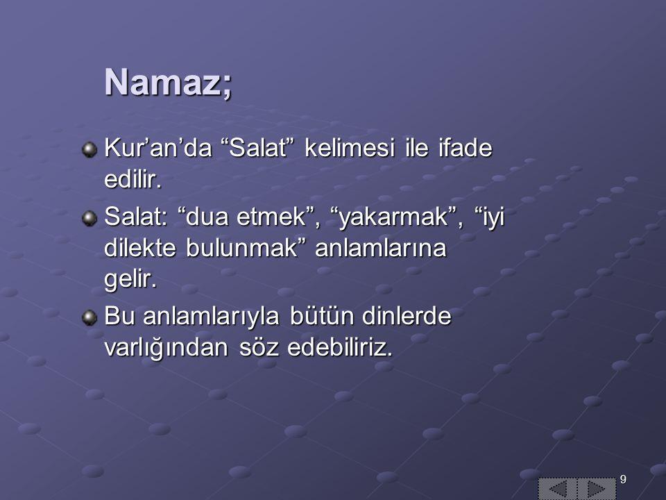 9 Namaz; Namaz; Kur'an'da Salat kelimesi ile ifade edilir.