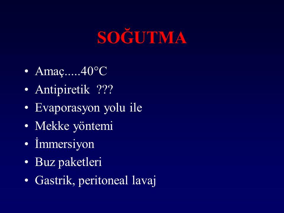 SOĞUTMA Amaç.....40°C Antipiretik ??? Evaporasyon yolu ile Mekke yöntemi İmmersiyon Buz paketleri Gastrik, peritoneal lavaj