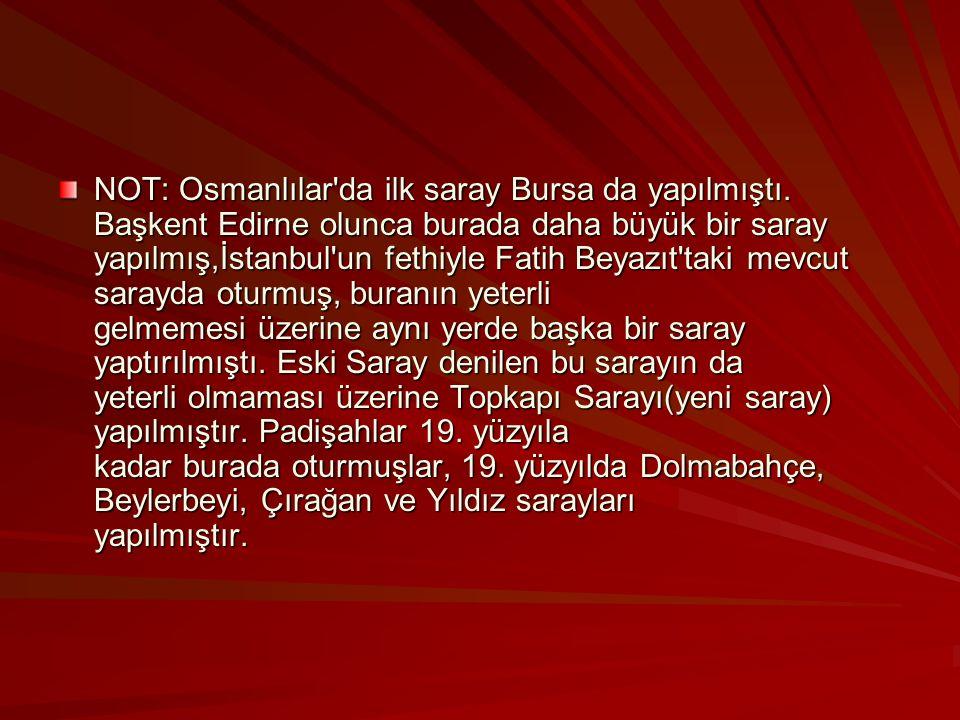 NOT: Osmanlılar da ilk saray Bursa da yapılmıştı.