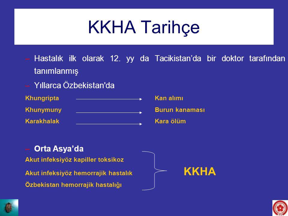 KKHA Tarihçe –Hastalık ilk olarak 12. yy da Tacikistan'da bir doktor tarafından tanımlanmış –Yıllarca Özbekistan'da Khungripta Kan alımı KhunymunyBuru
