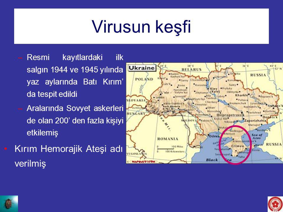 Virusun keşfi –Resmi kayıtlardaki ilk salgın 1944 ve 1945 yılında yaz aylarında Batı Kırım' da tespit edildi –Aralarında Sovyet askerleri de olan 200'