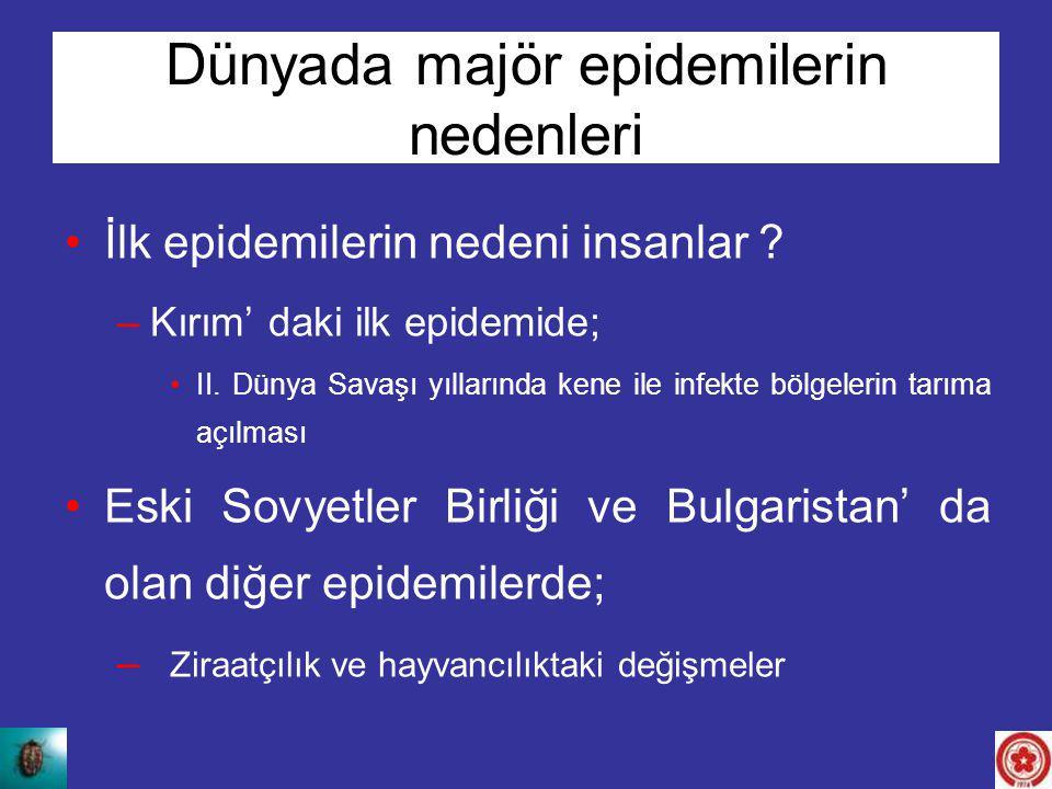 Dünyada majör epidemilerin nedenleri İlk epidemilerin nedeni insanlar ? –Kırım' daki ilk epidemide; II. Dünya Savaşı yıllarında kene ile infekte bölge