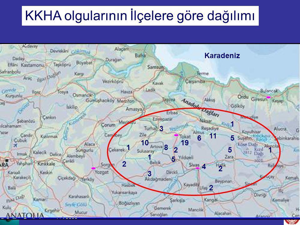 Karadeniz 6 81 2 19 11 1 3 10 3 1 4 1 2 5 2 5 5 KKHA olgularının İlçelere göre dağılımı 2