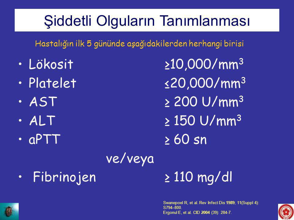 Lökosit ≥10,000/mm 3 Platelet≤20,000/mm 3 AST ≥ 200 U/mm 3 ALT ≥ 150 U/mm 3 aPTT≥ 60 sn ve/veya Fibrinojen ≥ 110 mg/dl Swanepoel R, et al. Rev Infect