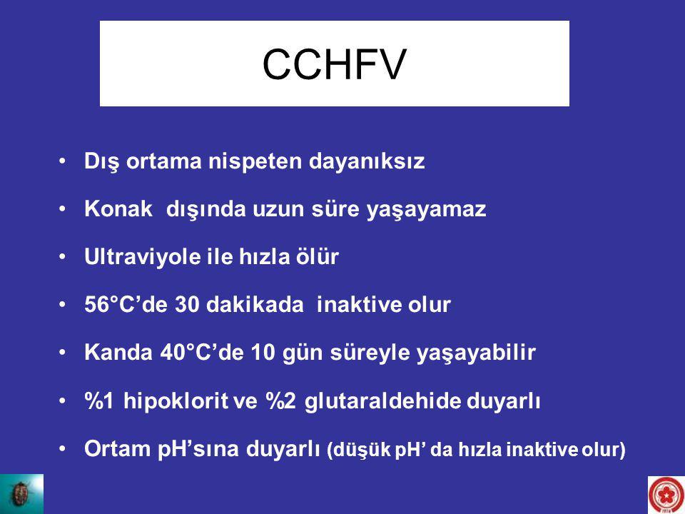 CCHFV Dış ortama nispeten dayanıksız Konak dışında uzun süre yaşayamaz Ultraviyole ile hızla ölür 56°C'de 30 dakikada inaktive olur Kanda 40°C'de 10 g