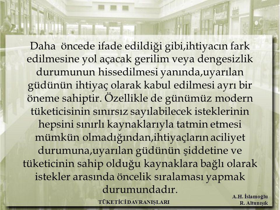 A.H. İslamoğlu R. Altunışık TÜKETİCİ DAVRANIŞLARI Daha öncede ifade edildiği gibi,ihtiyacın fark edilmesine yol açacak gerilim veya dengesizlik durumu
