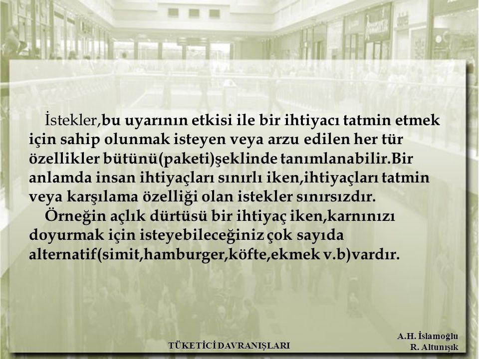 A.H. İslamoğlu R. Altunışık TÜKETİCİ DAVRANIŞLARI İstekler, bu uyarının etkisi ile bir ihtiyacı tatmin etmek için sahip olunmak isteyen veya arzu edil
