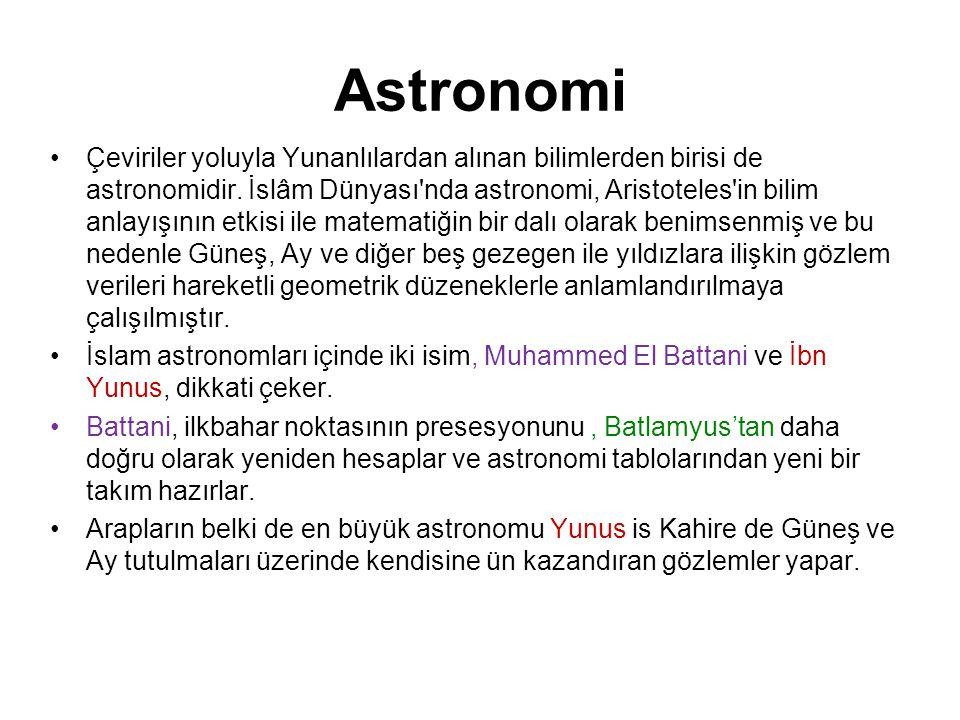 Astronomi Çeviriler yoluyla Yunanlılardan alınan bilimlerden birisi de astronomidir. İslâm Dünyası'nda astronomi, Aristoteles'in bilim anlayışının etk