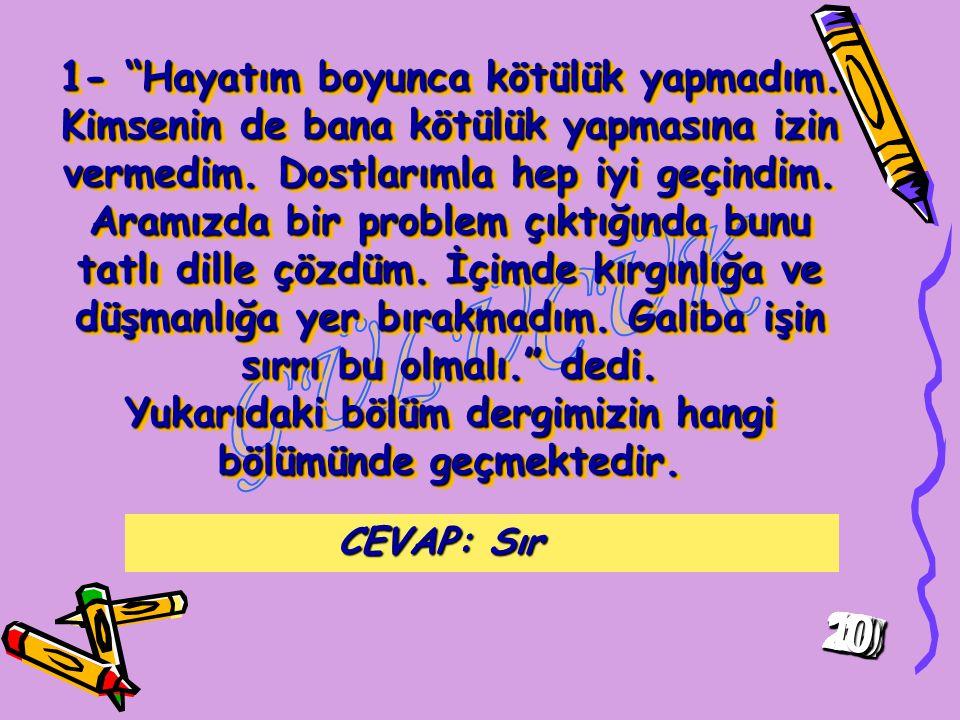 GÜLÜCÜK-6 DERGİSİ YARIŞMASINA HOŞ GELDİNİZ.