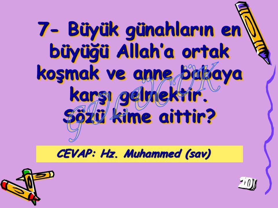7- Büyük günahların en büyüğü Allah'a ortak koşmak ve anne babaya karşı gelmektir.