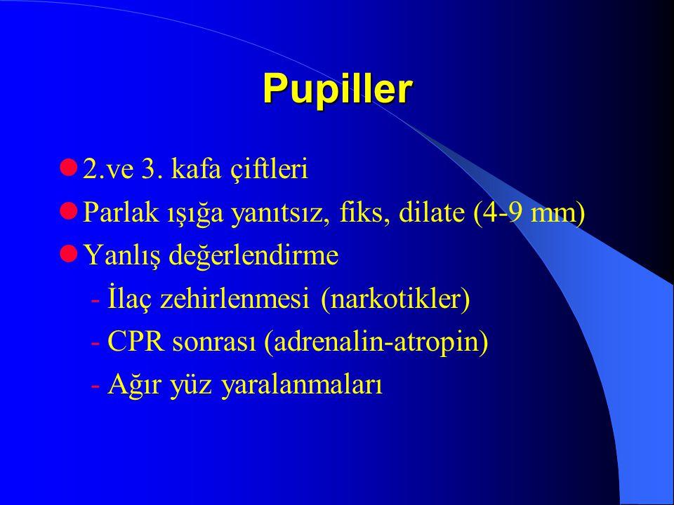 Pupiller 2.ve 3. kafa çiftleri Parlak ışığa yanıtsız, fiks, dilate (4-9 mm) Yanlış değerlendirme - İlaç zehirlenmesi (narkotikler) - CPR sonrası (adre