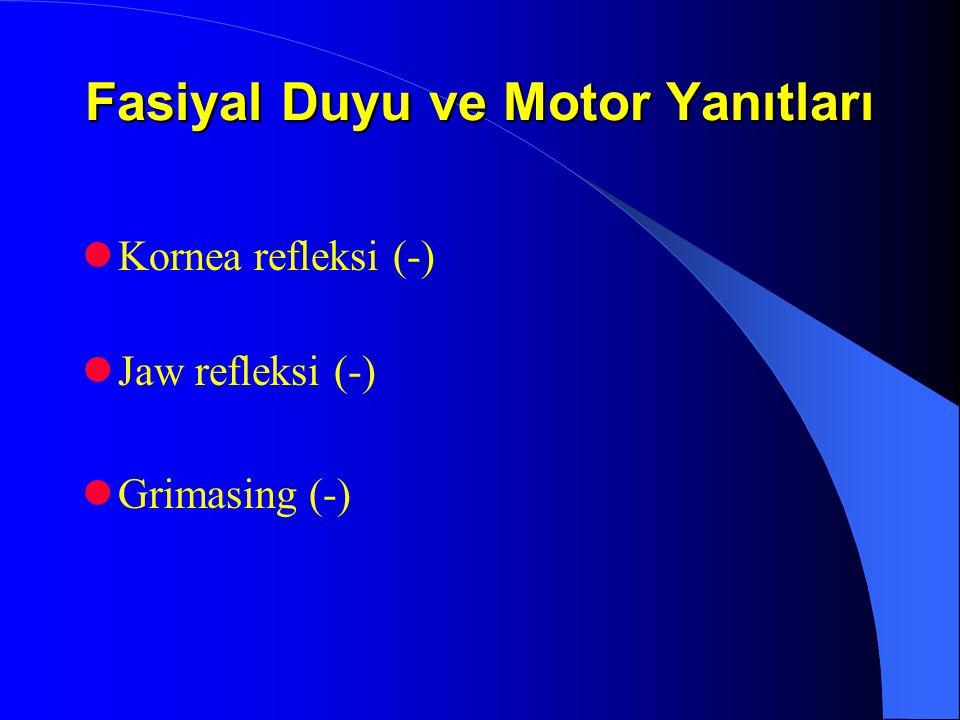 Fasiyal Duyu ve Motor Yanıtları Kornea refleksi (-) Jaw refleksi (-) Grimasing (-)