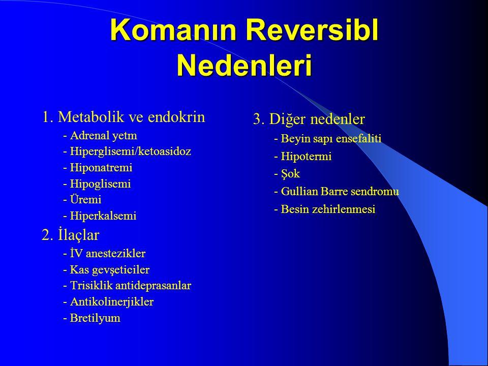 Komanın Reversibl Nedenleri 1. Metabolik ve endokrin - Adrenal yetm - Hiperglisemi/ketoasidoz - Hiponatremi - Hipoglisemi - Üremi - Hiperkalsemi 2. İl