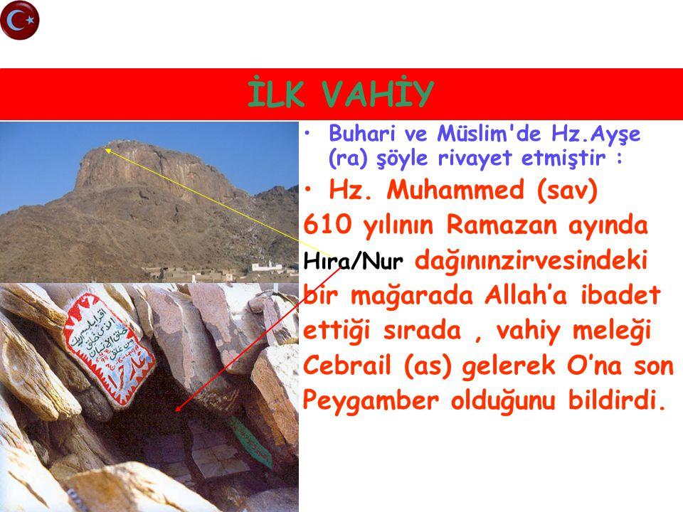 İLK VAHİY Buhari ve Müslim'de Hz.Ayşe (ra) şöyle rivayet etmiştir : Hz. Muhammed (sav) 610 yılının Ramazan ayında Hıra/Nur dağınınzirvesindeki bir mağ