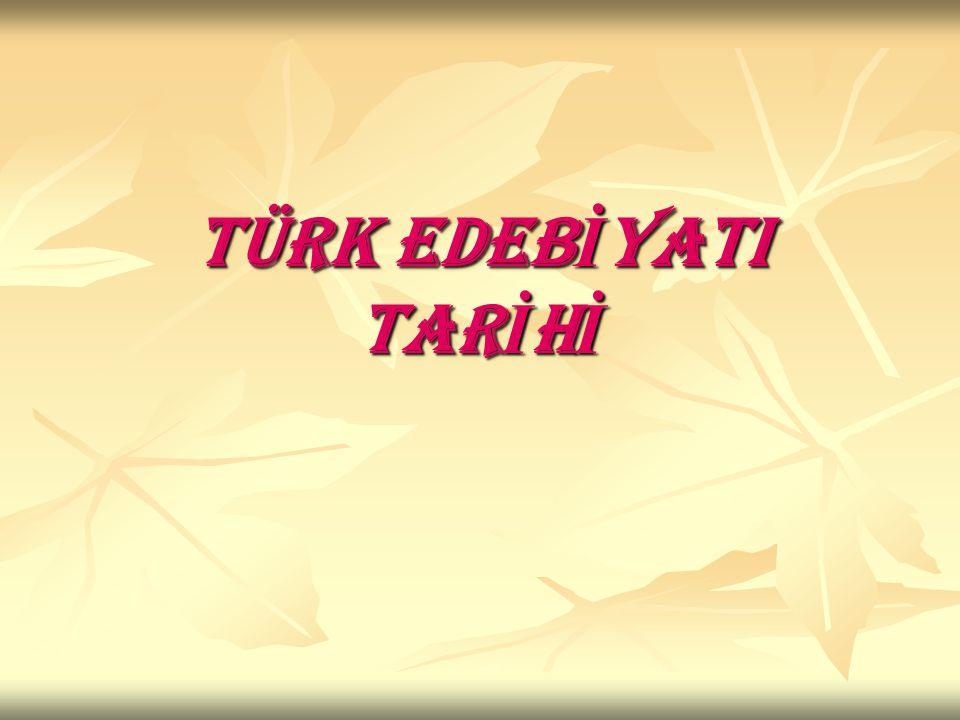 TÜRK EDEBİYATININ DEVRELERİ İslamiyet Öncesi Türk Edebiyatı İslamiyet Öncesi Türk Edebiyatı A- Sözlü Dönem Türk Edebiyatı (…- 8.yy.) A- Sözlü Dönem Türk Edebiyatı (…- 8.yy.) B- Yazılı Dönem Türk Edebiyatı (8.yy.-11.yy.) B- Yazılı Dönem Türk Edebiyatı (8.yy.-11.yy.) İslami Dönem Türk Edebiyatı(11.yy.-1860) İslami Dönem Türk Edebiyatı(11.yy.-1860) A- İlk İslami Türk Edebiyatı Eserleri A- İlk İslami Türk Edebiyatı Eserleri B- Divan Edebiyatı B- Divan Edebiyatı C- Halk Edebiyatı (1.Anonim Halk Edebiyatı, 2.Aşık Edebiyatı,3.Tekke (Tasavvuf) Edebiyatı C- Halk Edebiyatı (1.Anonim Halk Edebiyatı, 2.Aşık Edebiyatı,3.Tekke (Tasavvuf) Edebiyatı Batı Kültürü Etkisindeki Türk Edebiyatı Batı Kültürü Etkisindeki Türk Edebiyatı A- Tanzimat Edebiyatı(1860-1895) A- Tanzimat Edebiyatı(1860-1895) B- Servet-i Fünun Edebiyatı (Edebiyat-ı Cedide) (1895-1901) B- Servet-i Fünun Edebiyatı (Edebiyat-ı Cedide) (1895-1901) C- Fecr-i Ati Edebiyatı (1909-1911) C- Fecr-i Ati Edebiyatı (1909-1911) D-Milli Edebiyat Akımı (1911-1923) D-Milli Edebiyat Akımı (1911-1923) E-Milli Mücadele Dönemi Edebiyatı E-Milli Mücadele Dönemi Edebiyatı F-Beş Hececiler F-Beş Hececiler G- Cumhuriyet Dönemi Türk Edebiyatı (1923-…) G- Cumhuriyet Dönemi Türk Edebiyatı (1923-…) (1.
