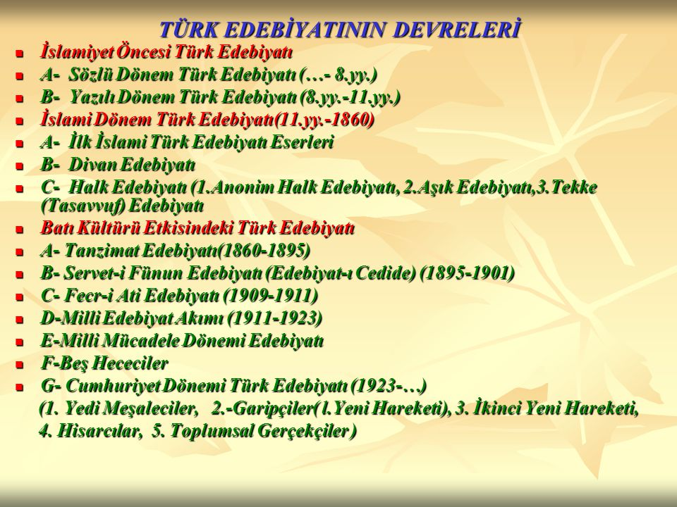 İslami Dönem Türk Edebiyatı 2 bölümde incelenir: İslami Dönem Türk Edebiyatı 2 bölümde incelenir: A- Divan Edebiyatı A- Divan Edebiyatı B- Halk Edebiyatı B- Halk Edebiyatı 1.
