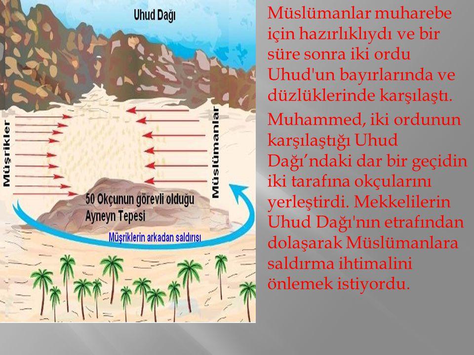 Müslümanlar muharebe için hazırlıklıydı ve bir süre sonra iki ordu Uhud'un bayırlarında ve düzlüklerinde karşılaştı. Muhammed, iki ordunun karşılaştığ